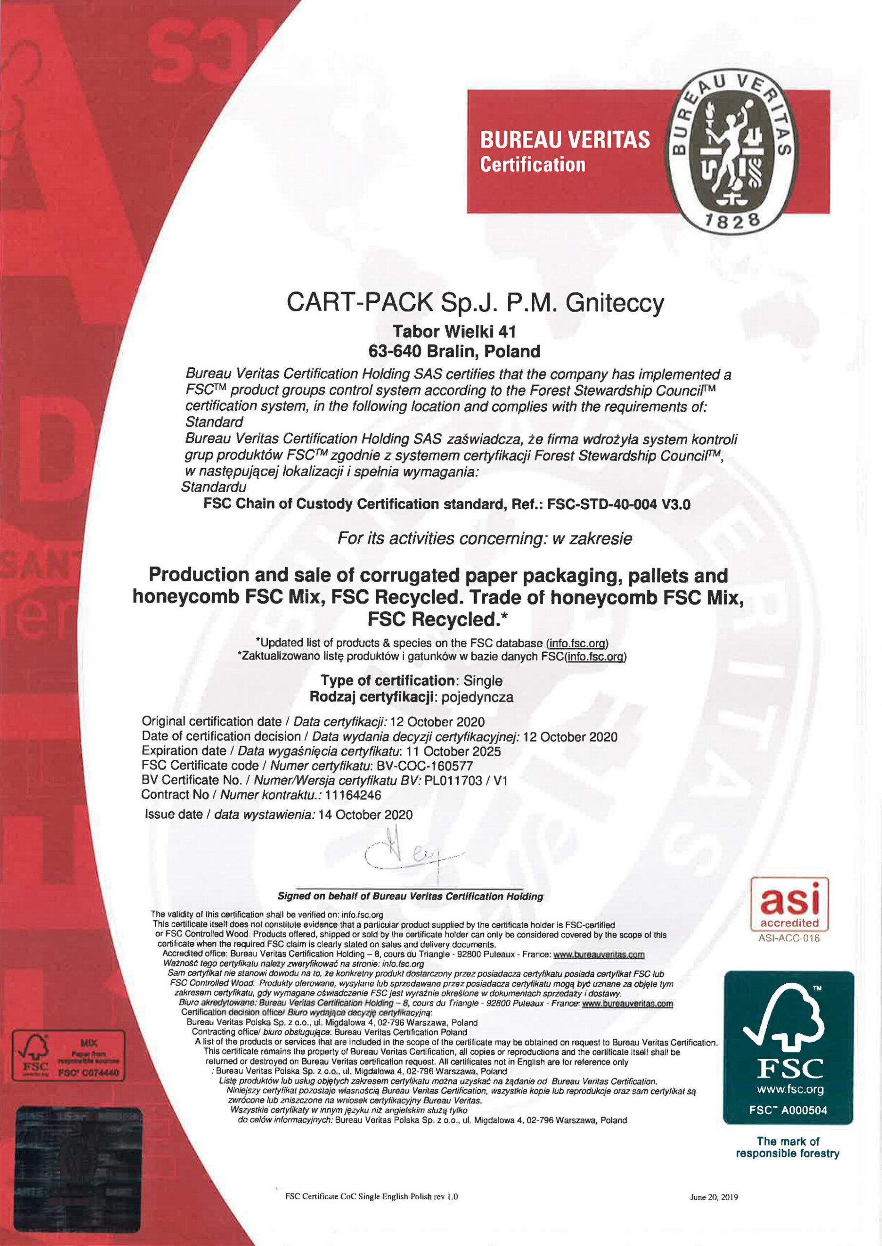 Certificate Cart-pack
